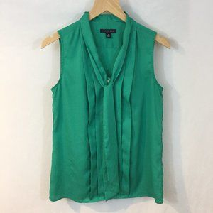 Lands' End Sleeveless Green Tie Neck Pleated Tank